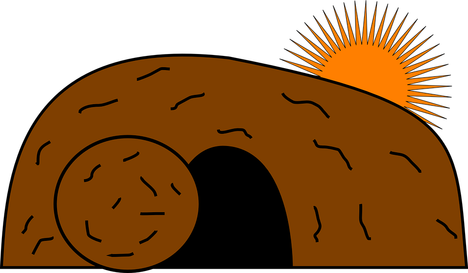 Cave, Tomb, Christ, Jesus, Risen, Rock, Sun, Brown Rock