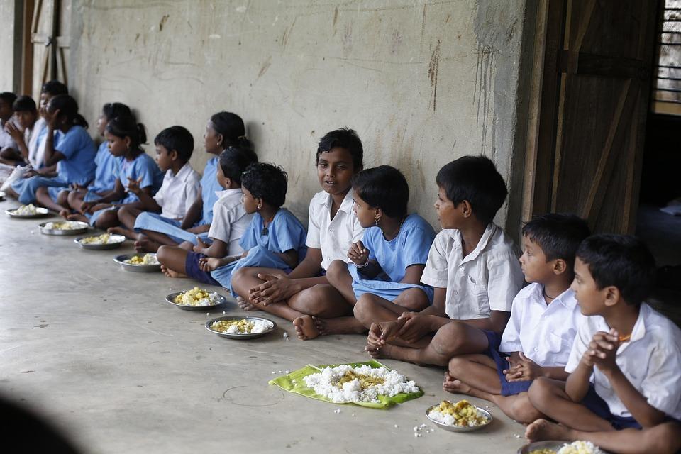 子供, 幼児, 少年たち, 女の子, 食べること, 食事, インド, 貧しい, 飢えた, 貧困