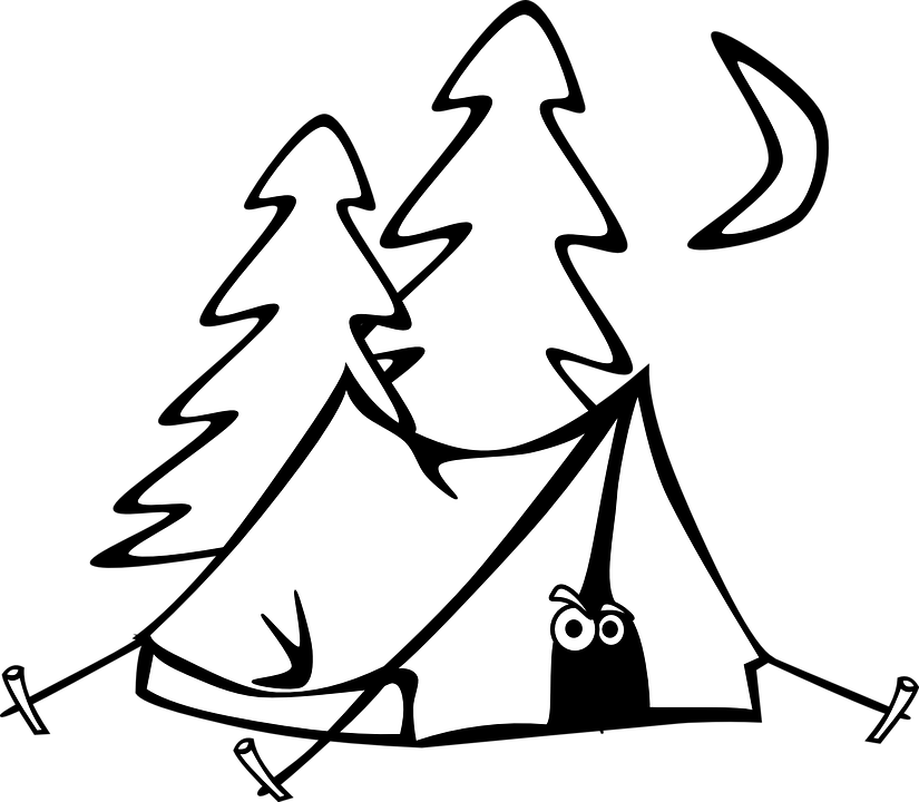 C&ing Tent Eyes Trees Moon Night Cartoon  sc 1 st  Pixabay & Free vector graphic: Camping Tent Eyes Trees Moon - Free Image ...