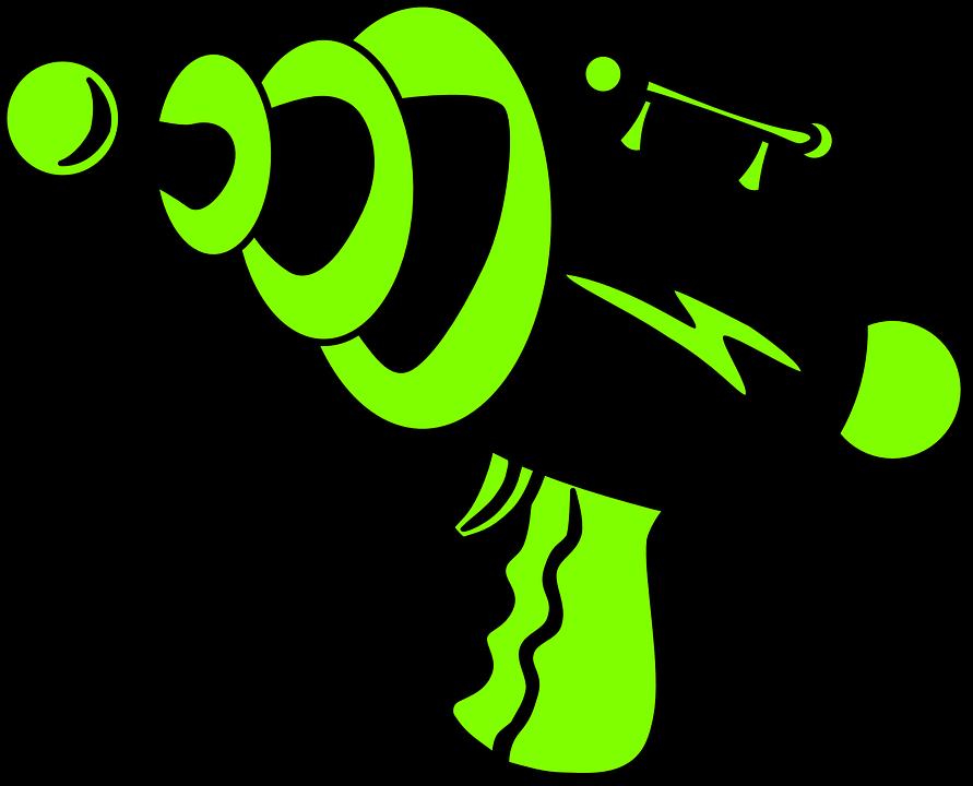 gun science fiction green free vector graphic on pixabay rh pixabay com Bumper Cars Clip Art Laser Quest