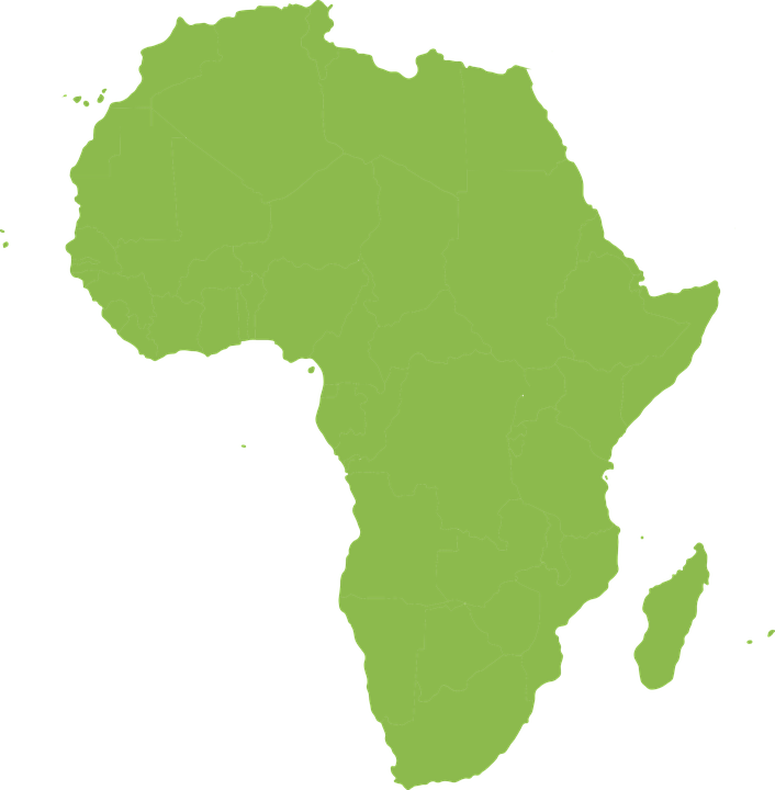 map africa continent rotated silhouette green
