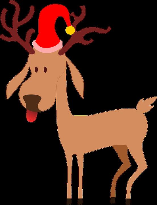 reindeer santa clause christmas cap antlers tongue - Reindeer And Santa