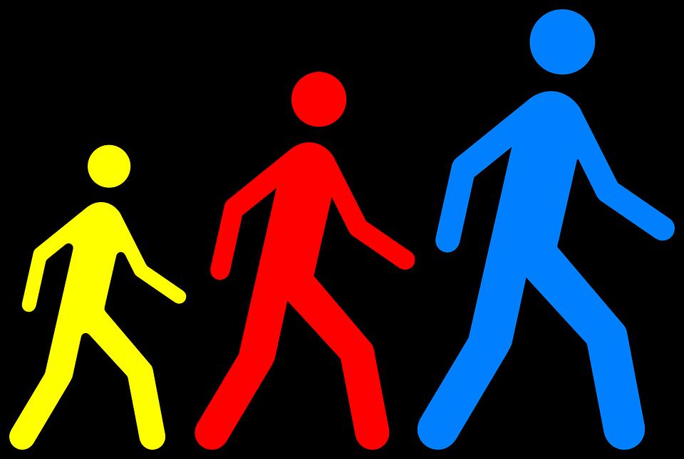 Stickmanの複数形, 徒歩, 従う, 絵文字, 大きい, 黄色, 赤, 青