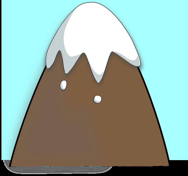 Gunung Atas Salju Kartun Dingin