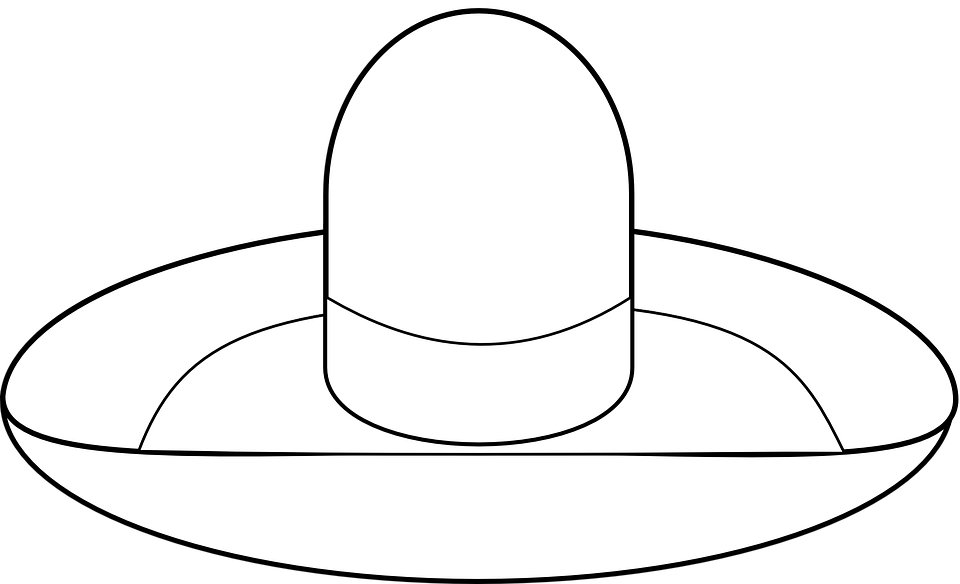 Line art black and white mexican hat Clip Art | k63969808 | Fotosearch