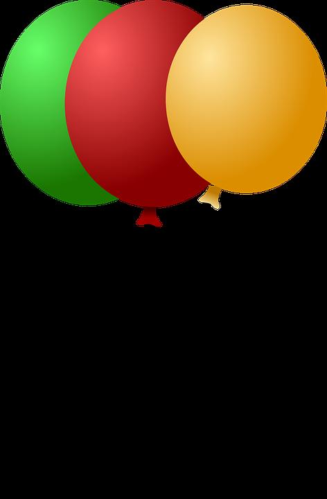 Воздушные Шары, Празднование, Зеленый, Красный, Желтый