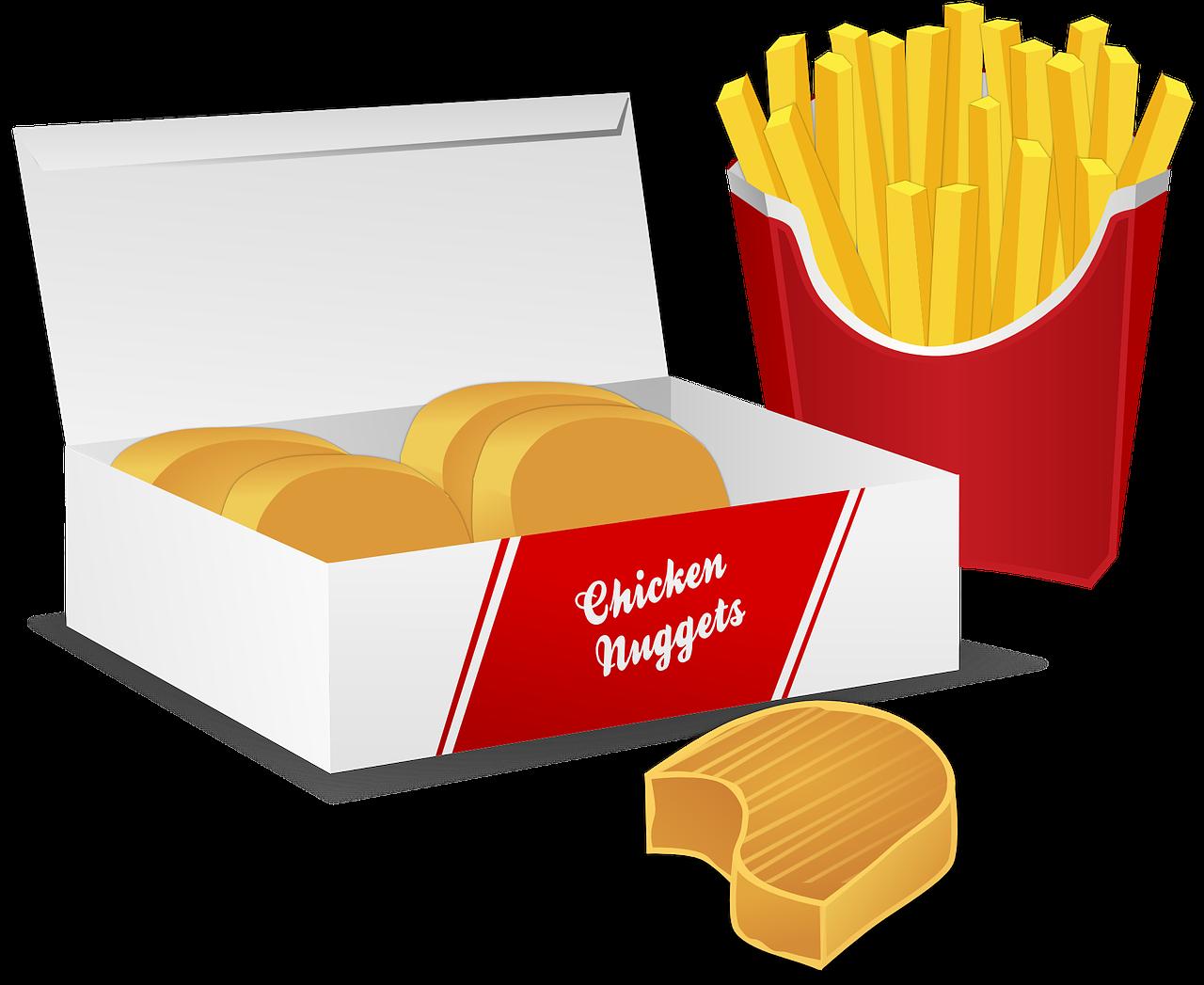 Nuggets Z Kurczaka, Chipsy Ziemniaczane, Frytki, Chleb