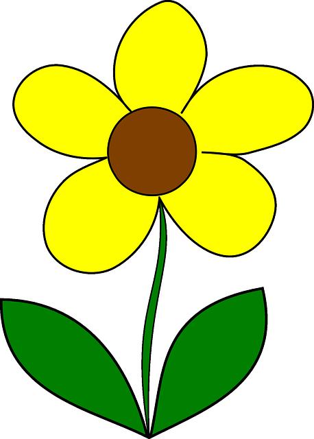 กราฟฟิกเวคเตอร์ฟรี: ดอกไม้, สีเหลือง, ฤดูใบไม้ผลิ, บาน ...