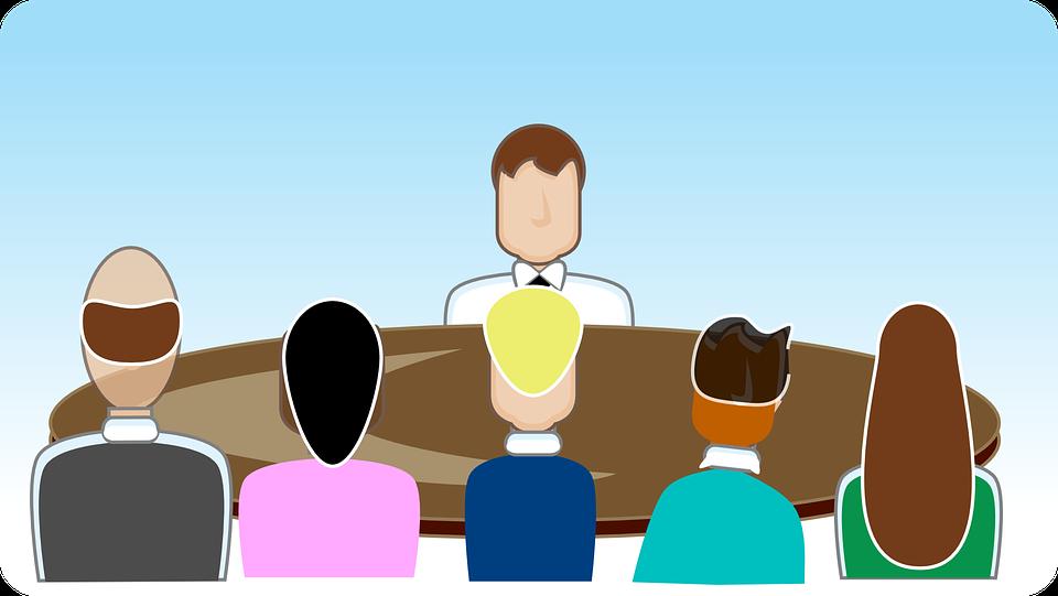 マネージャー, 人, グループ, 会議, 評価センター, 就職の面接, ビジネス, 青事業, 青会