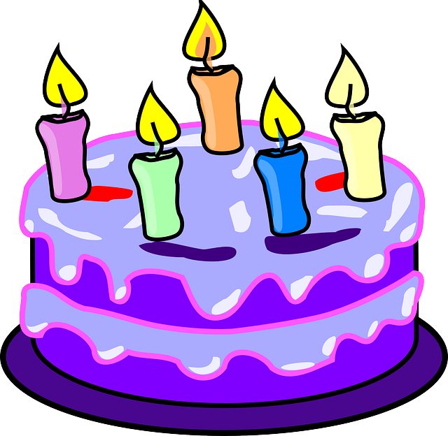 Free Vector Graphic Cake Candles Birthday Purple