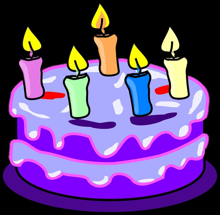 Gâteau, Bougies, Anniversaire, Purple, Givrage, Cinq