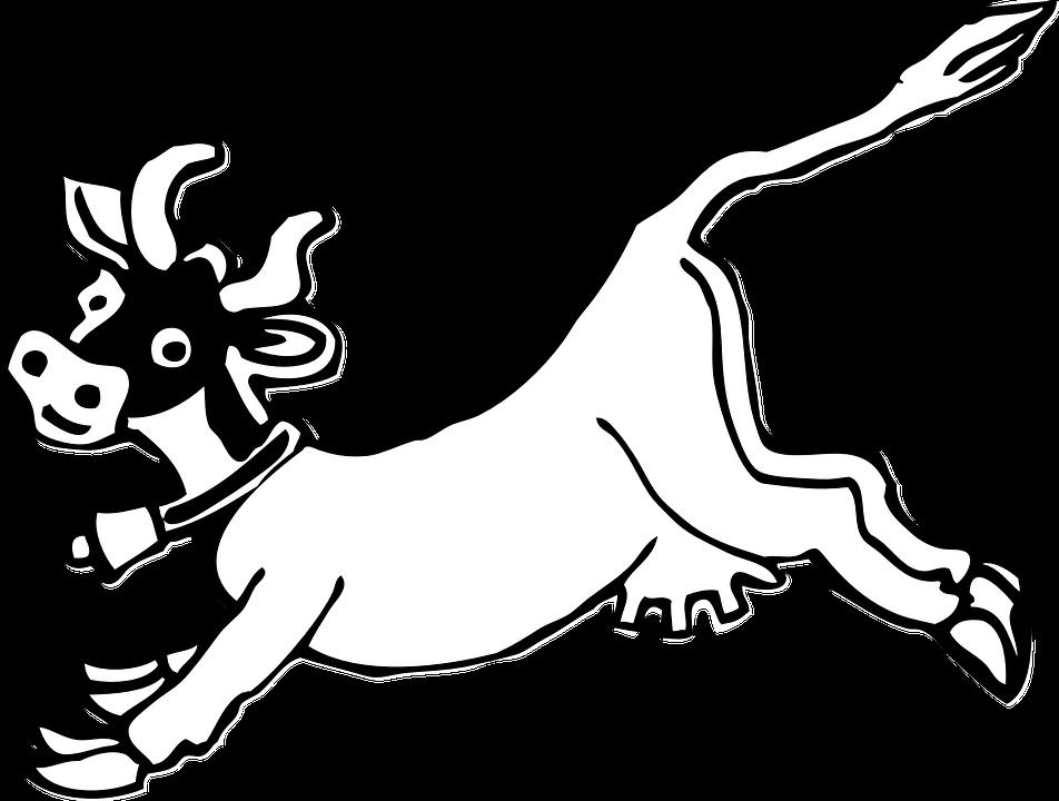Cow Jumping Cartoon Cowbell Udder