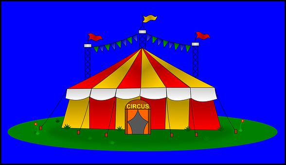Zirkus, Zelt, Groß, Flaggen, Gelb, Rot