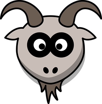 Goat, Head, Cartoon, Gray, Animal