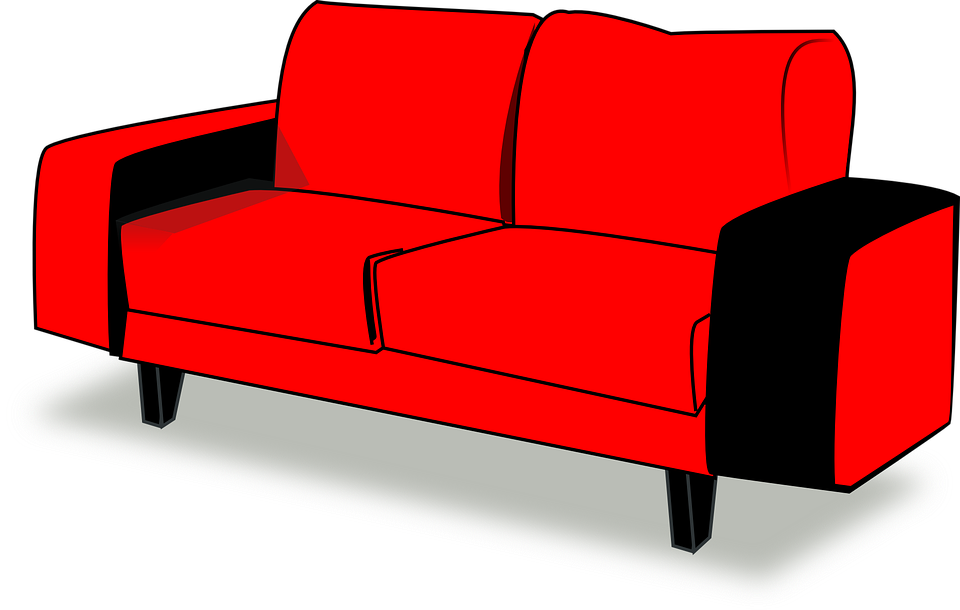 free vector graphic couch red sofa interior free. Black Bedroom Furniture Sets. Home Design Ideas