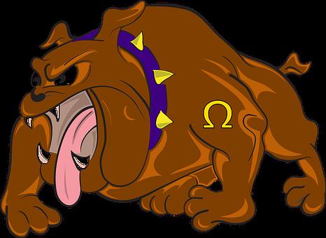 Bulldog, Cartoon, Angry, Dog, Attacking