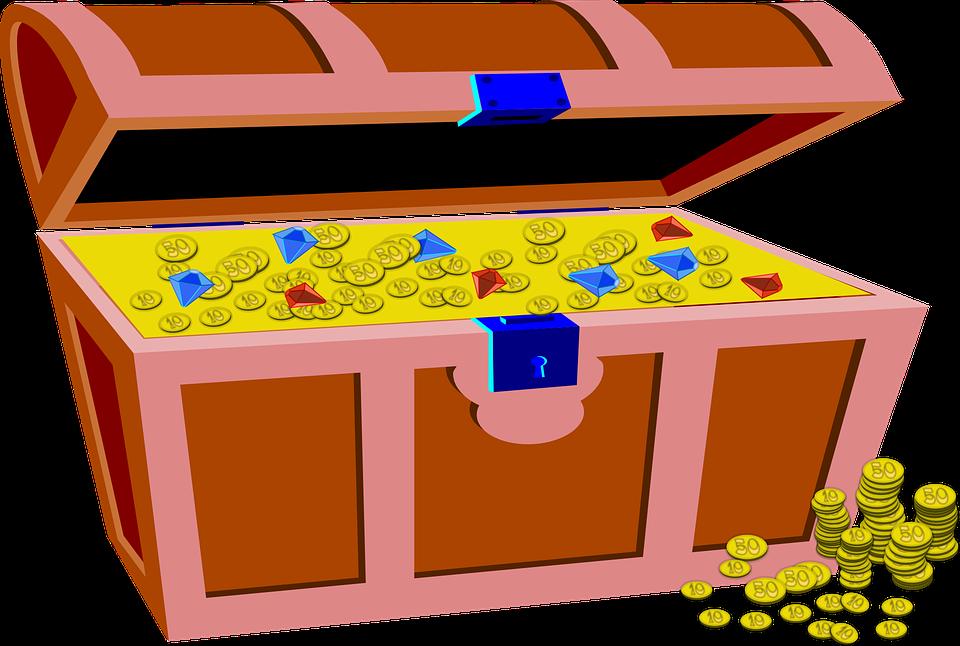 สมบัติ, กล่อง, ทอง, เหรียญ, โจรสลัด, อัญมณี, โชค