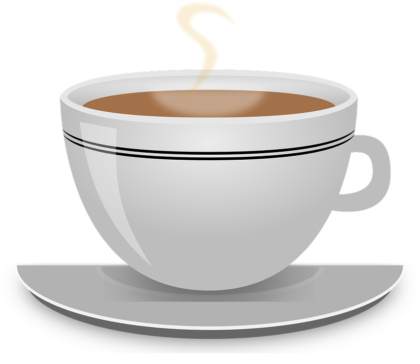 Steaming hot coffee cup