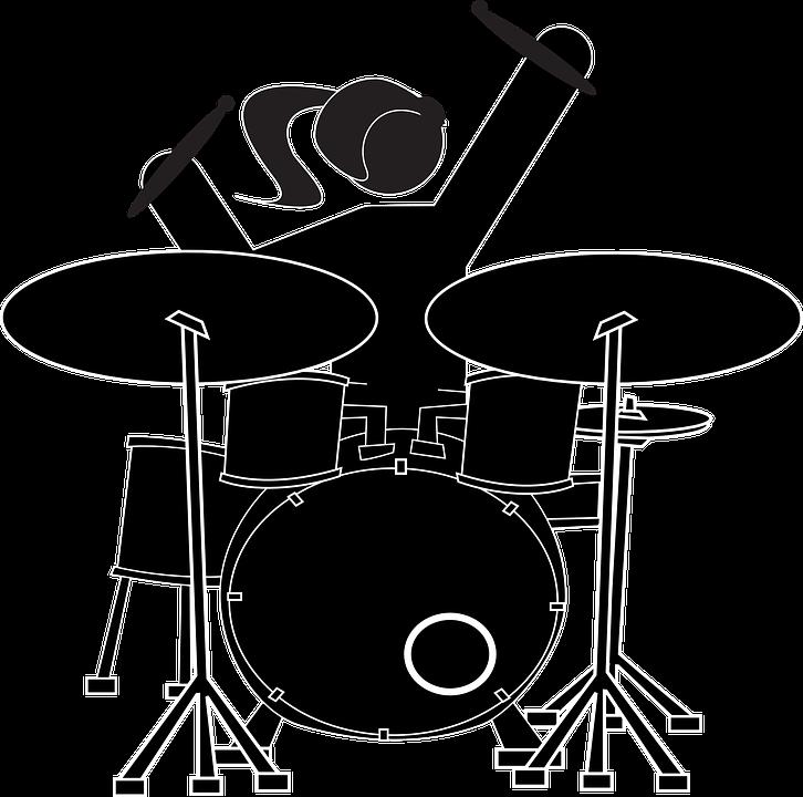free vector graphic girl drummer drum set musician
