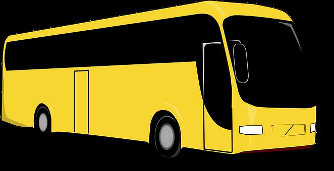 Bus, Geel, Black, Reizen, Vervoer, Coach