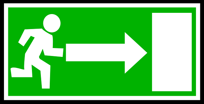 Emergency, Exit, Green, White, Direction