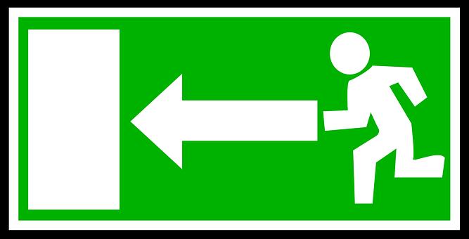 緊急, 終了, 緑, ホワイト, 方向, ルート, 左, ポインティング, 火