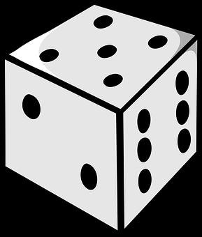 Dice, Die, Five, Gambling, Casino, Gray