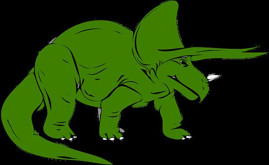 Dinosaur, Green, Triceratops, Extinct