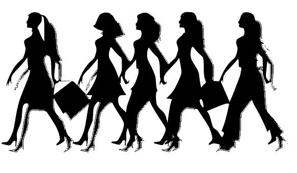 Ženy, Dámy, Samice, Holky, Chůze, Černá