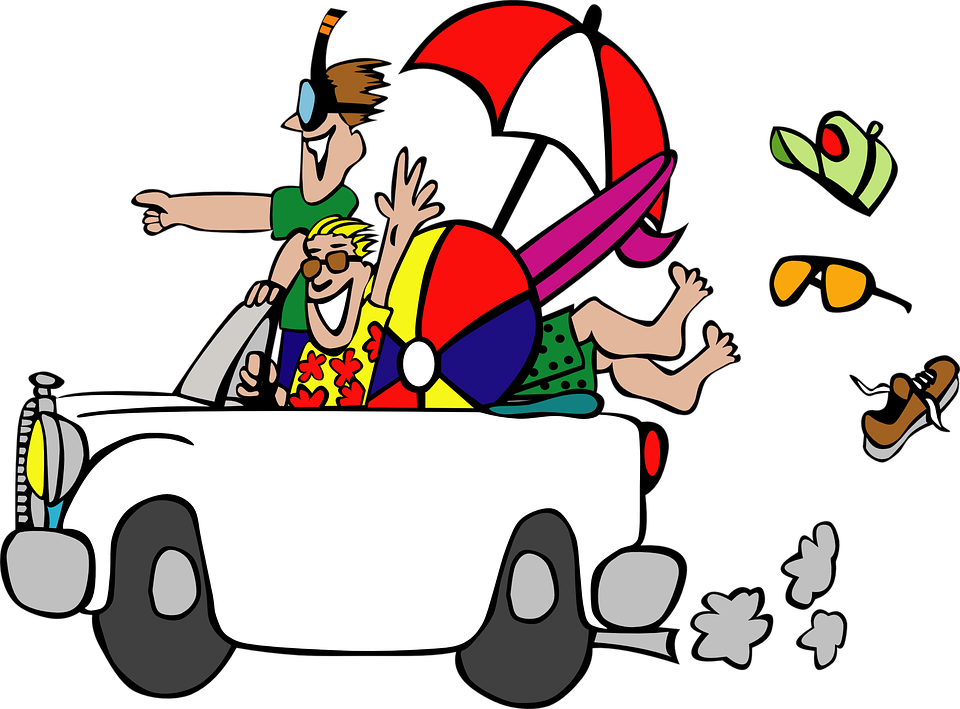 Funny Travel Cartoon Car Vacation Trip Holiday