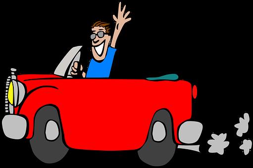 Cabrio, Auto, Mann, Welle, Grinsen