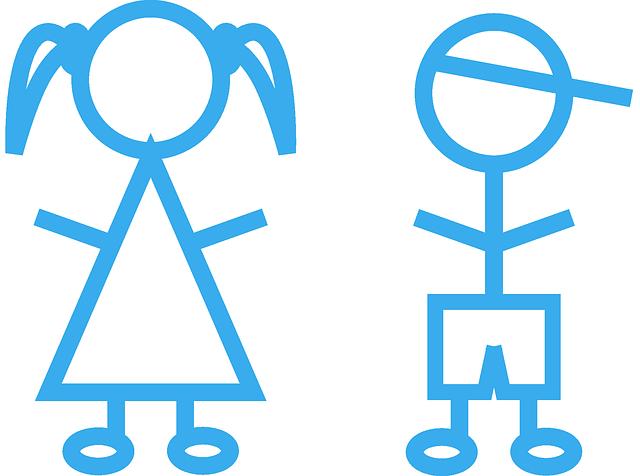 Kinder Strichmännchen Mädchen · Kostenlose Vektorgrafik