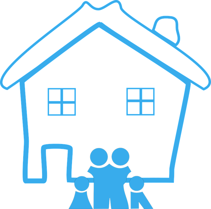 Amazing Home, Family, House, Design, Happy, Blue, Pictogram