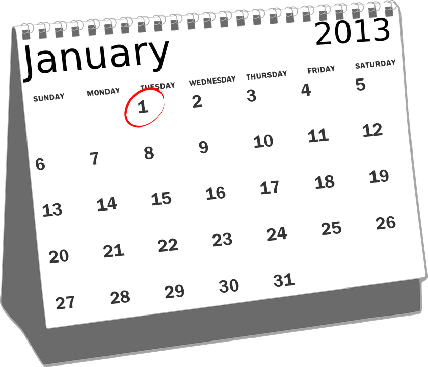 Free Vector Graphic Calendar January Desk 2013 1st
