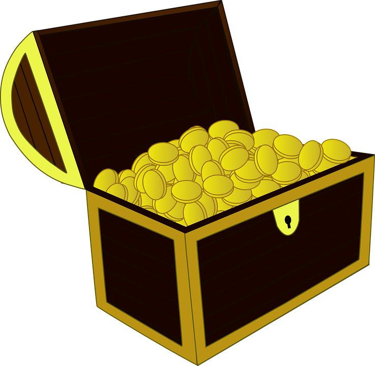 Free vector graphic treasure chest gold open wealth for Transparent piggy bank money box