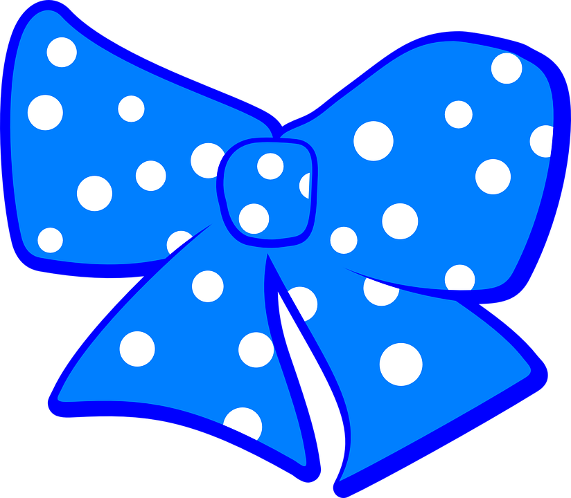 Bow, Polka, Dots, Ribbon, Blue, White