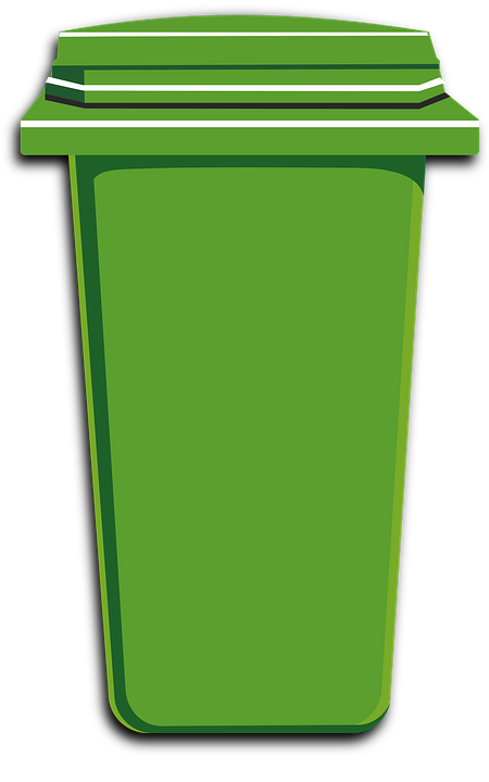 green trash bin can plastic container garbage