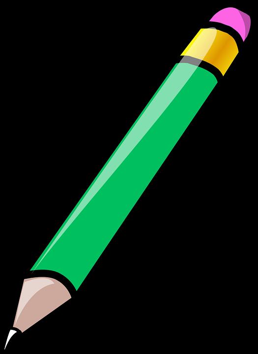 Bút Chì Tẩy Màu Xanh Lá Cây Miễn Phí Vector Hình ảnh Trên