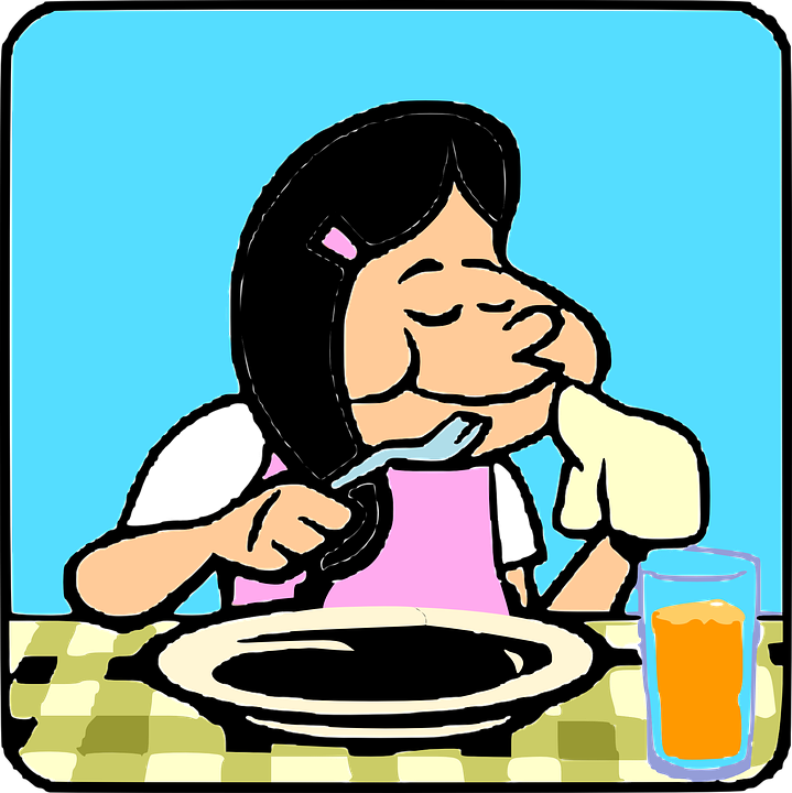 Eating Table Cartoon: Free Vector Graphic: Woman, Eating, Table, Plate, Fork