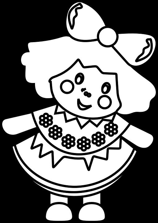 Line Art Doll House : Poupée jeune fille jouets · images vectorielles gratuites