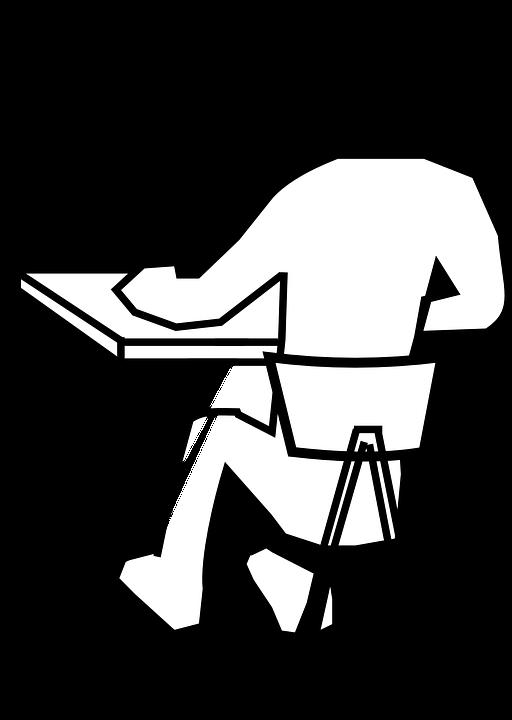 kostenlose vektorgrafik schreibtisch stuhl mann sitzen. Black Bedroom Furniture Sets. Home Design Ideas