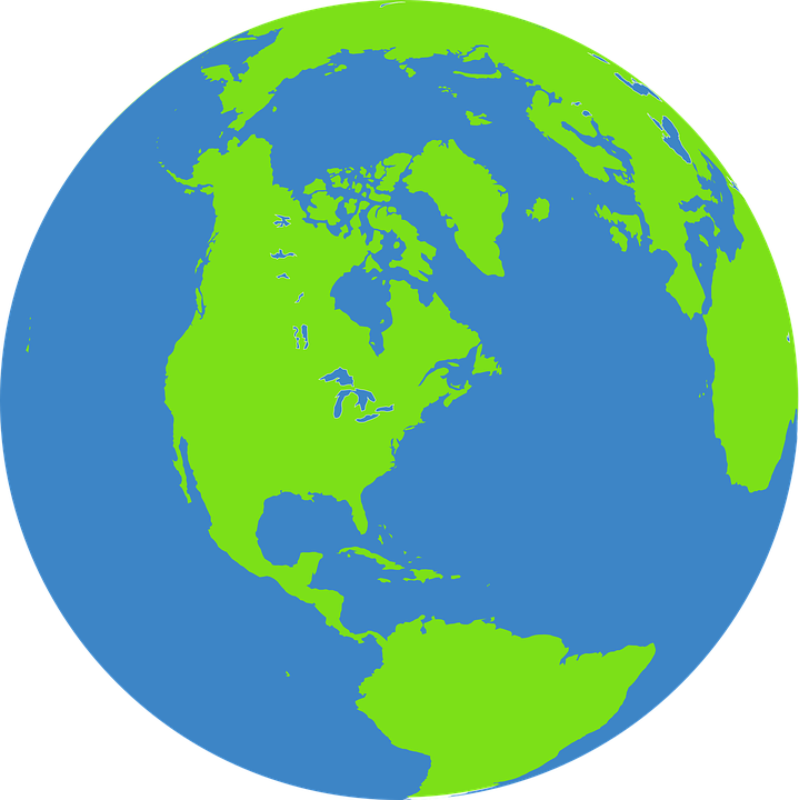 Globe Earth World Free Vector Graphic On Pixabay - Green and blue world map