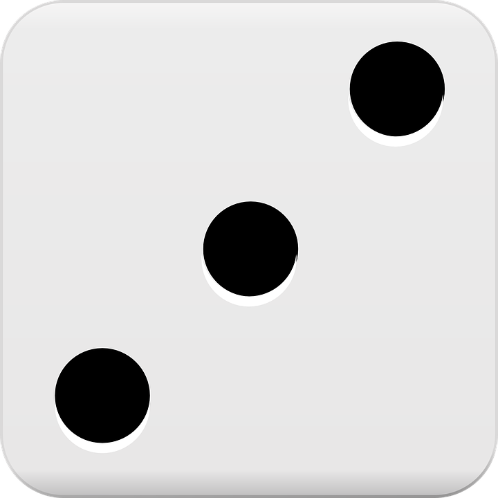 Dice, Roll, Three, Dots, Luck, Risk, Gamble, Game