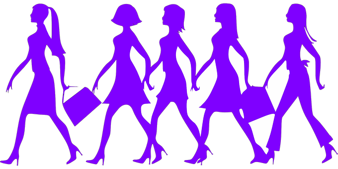 Silhouettes shwoing women in shopping modes