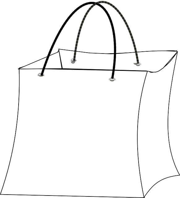 Black And White Grocery Bag Clip Art Free vector graphic: G...