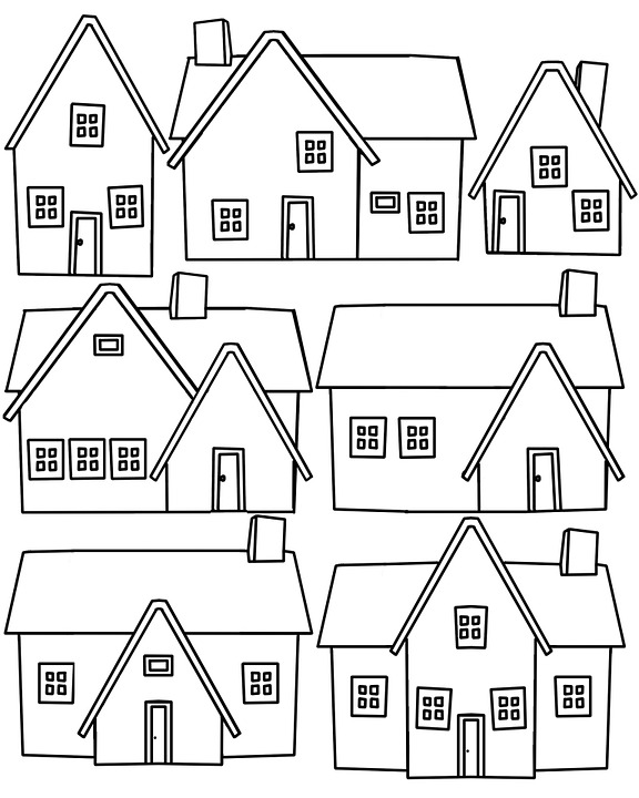 Free Illustration House Home Outline Neighborhood