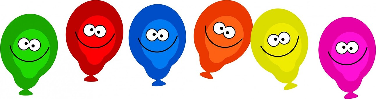 Cartoon, Balloons, Faces, Happy, Smile