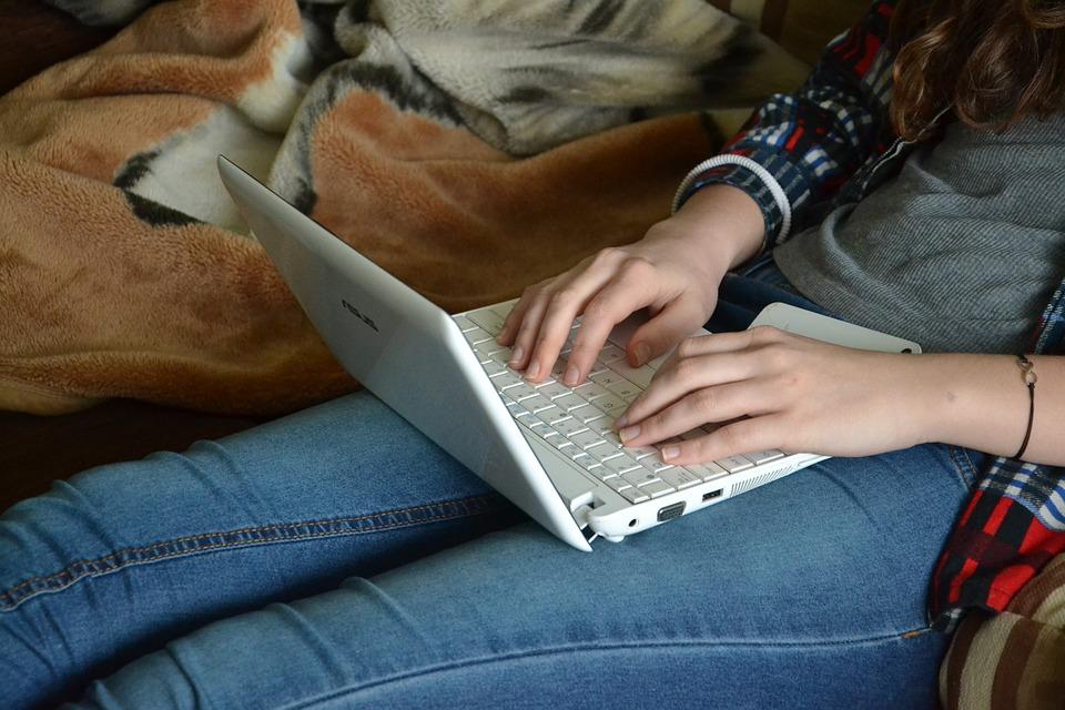 コンピューター, キーボード, 機器, エレクトロニクス, 使用, 書きます, ノートPc, 電子装置, 電子