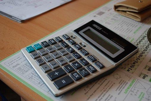 電卓, カウント, 数学, 税金, 札, 保存, 貯蓄