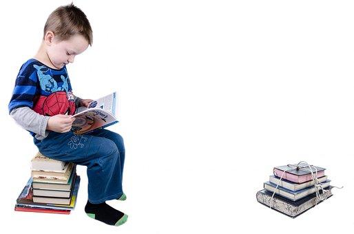 Enfant, Livre, Garçon, Étudiant, Isolé